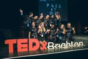 Student volunteers at TEDx conference in Brighton