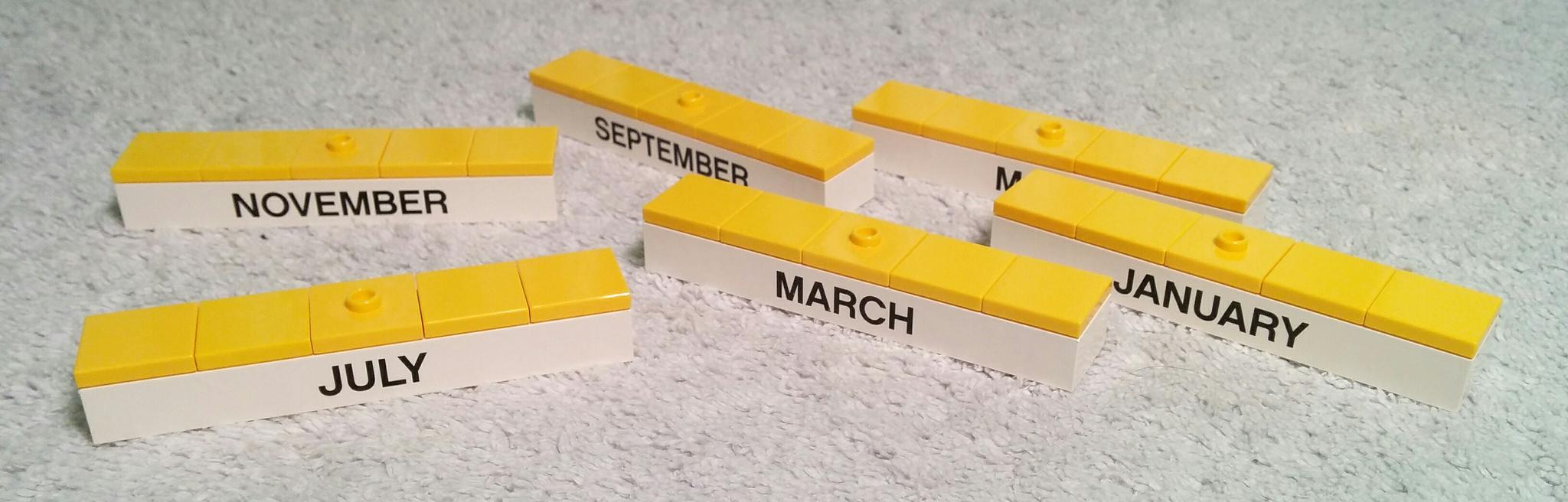 year calendar in lego bricks